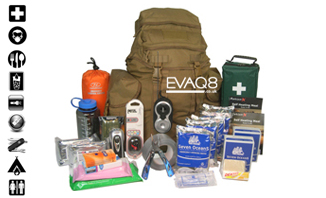 Deluxe GoBag® Standard Emergency Kit | READY UK Emergency Preparedness supplies to support two persons for 72 hours | GoBag® from EVAQ8.co.uk the UK's Emergency Prepardness specialist READY UK