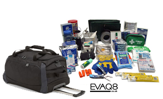 Mobile Natural Disaster Survival Kit / Go Bag | READY UK Emergency Preparedness supplies in the event of a major incident or disaster | Go Bag from EVAQ8.co.uk the UK's Emergency Prepardness specialist READY UK