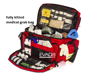 Medical Kit Bags fully kitted for first aid | READY UK First Aid and Emergency Preparedness supplies from EVAQ8.co.uk the UK's Emergency Prepardness specialist READY UK